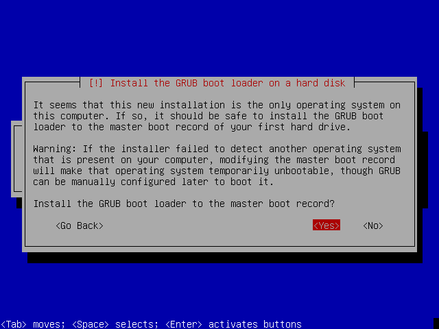 Installing the grub boot loader